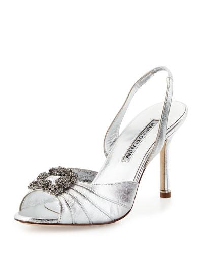 Manolo Blahnik 'Cassia' Ornamented Slingback Sandal (Women) In Silver