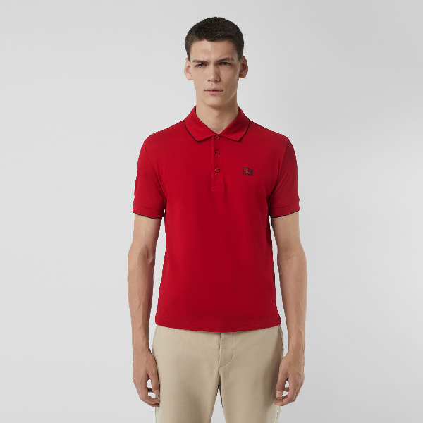 Burberry Tipped Cotton PiquÉ Polo Shirt In Military Red