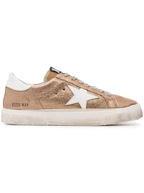 3b39e1e1ff5e May Distressed Metallic Suede And Leather Sneakers in H3 Gold Crack White  Star