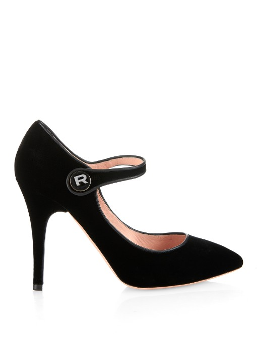 Rochas Point-Toe Velvet Pumps In Black