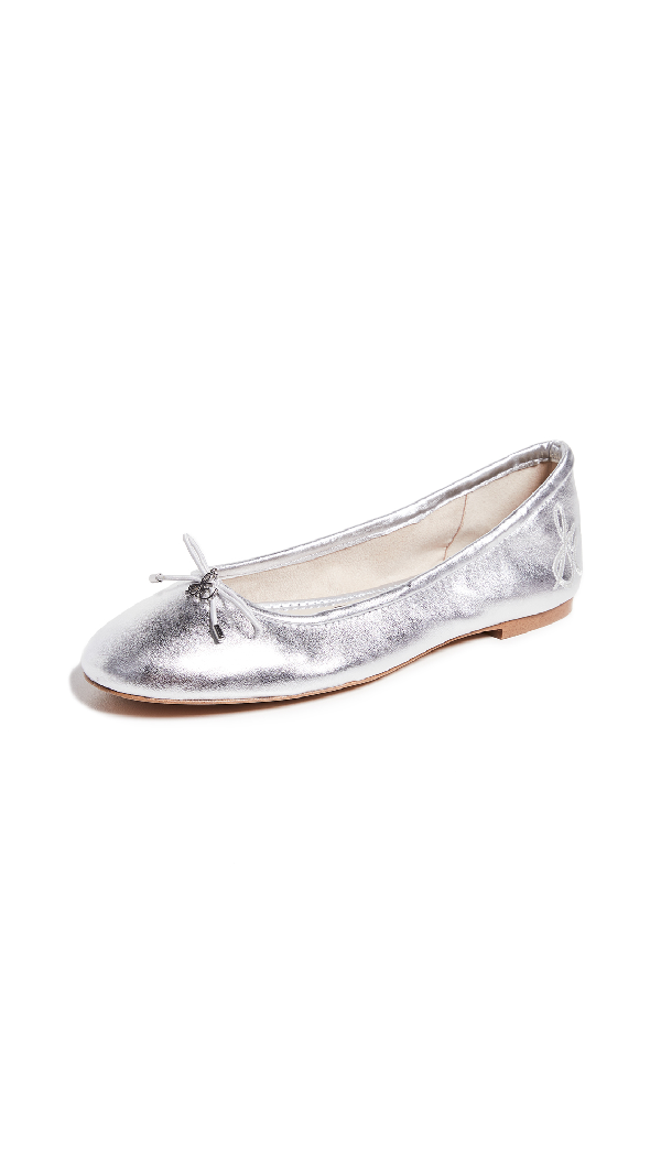 d8c38cee1 Sam Edelman Felicia Metallic Leather Ballet Flats In Soft Silver ...