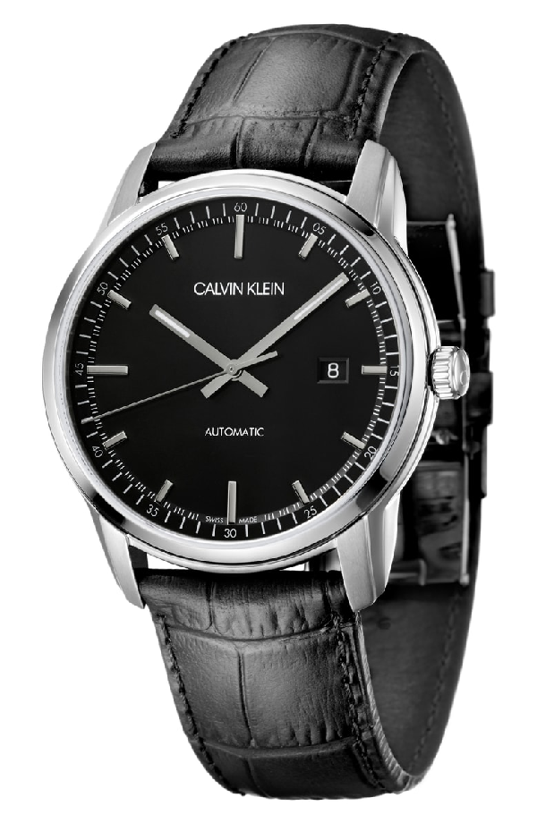 a818b6602c Calvin Klein Infinite Too Automatic Leather Strap Watch, 42Mm In Black