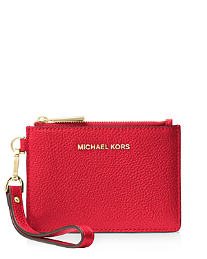 402d16e3f490 Michael Michael Kors Small Leather Wristlet In Bright Red Gold ...