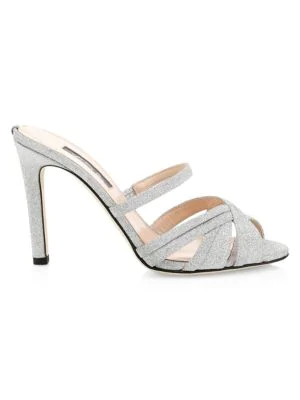 Sjp By Sarah Jessica Parker Indulge Glitter Mules In Silver