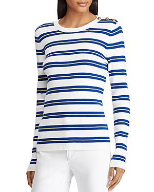 d40e7929 Ralph Lauren Lauren Button Shoulder Ribbed Stripe Top In White Multi ...