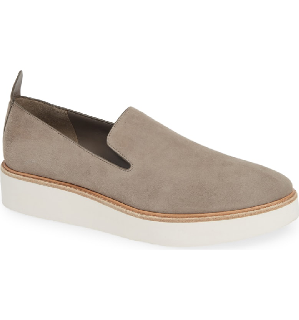 Vince Sanders Slip-On Sneaker In Pewter/ White Leather