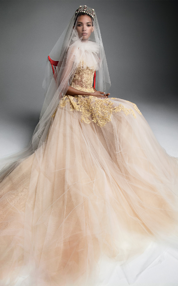 a19789ffc2e Vera Wang Anne A Sheer Tulle Bodice Gown With Macrame Lace In Gold ...