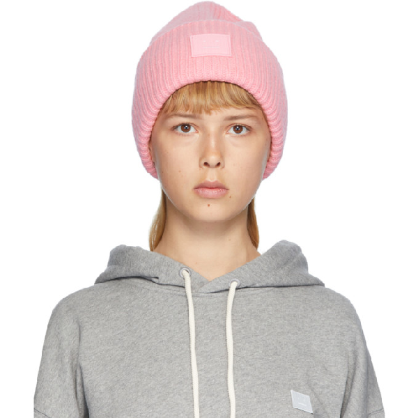 Acne Studios 'pansy L Face' Emoticon Patch Wool Blend Beanie In Pale Pink