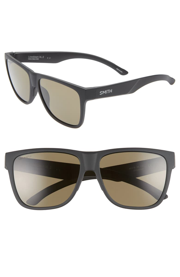 Smith Lowdown Xl 2 60mm Chromapop(tm) Polarized Square Sunglasses In Matte Black/ Green