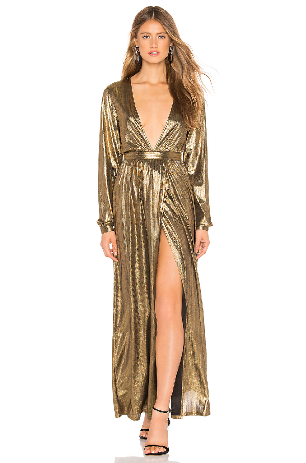343a62877a BY THE WAY. By The Way. Lisa Plunge V Neck Maxi In Metallic Gold.