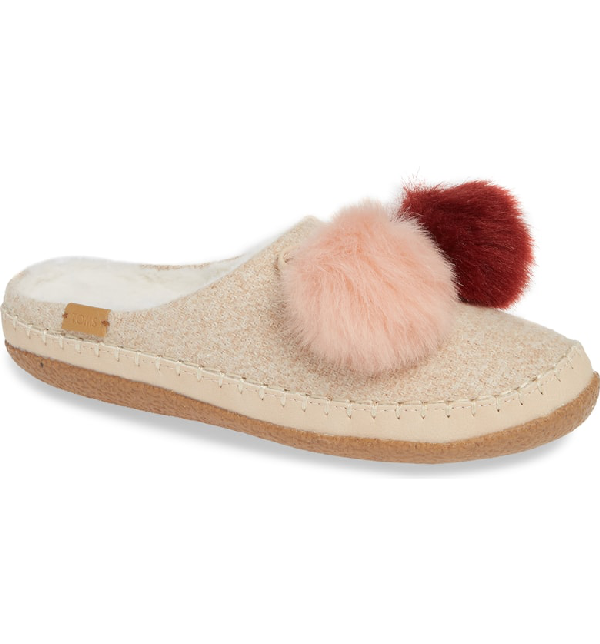 259d14077b0 Toms Ivy Pom Faux Shearling Lined Slipper In Rose Cloud Fabric ...
