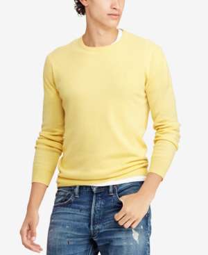Polo Ralph Lauren Men's Cashmere Crew Neck Sweater In Fall Yellow