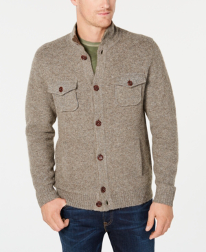 Tommy Bahama Men's Desert Dunes Mock-Collar Cardigan In Dark Brown