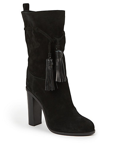 Lanvin Suede & Leather Tasseled Mid-Calf Boots In Black