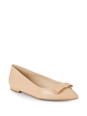 Cole Haan Elsie Bow Leather Skimmer Flats In Nude