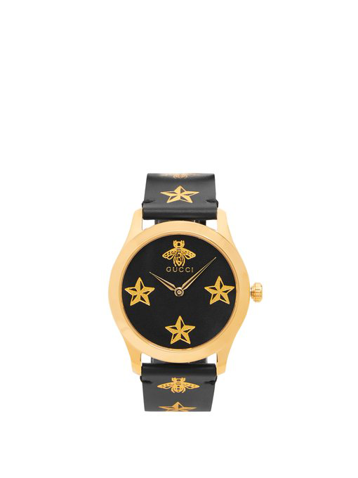 Gucci G-Timeless Bee And Star-Print Leather Watch In Black Multi