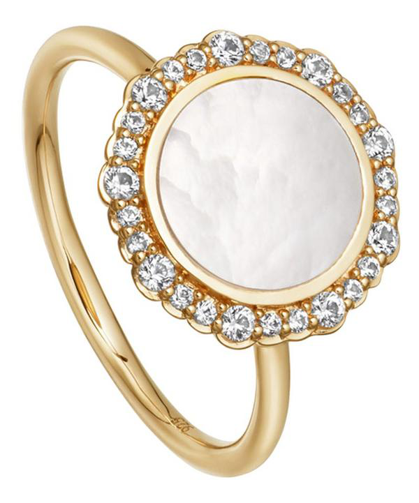 Astley Clarke Gold Luna Mother Of Pearl Sapphire Ring