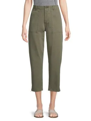 Joe's Jeans High-rise Straight-leg Cropped Pants In Earth Army