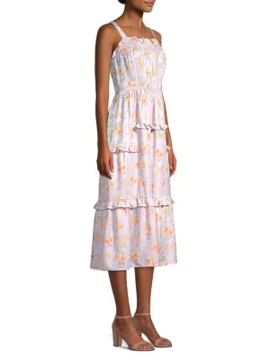 Rebecca Taylor Emilia Silk Midi Dress In Lavender