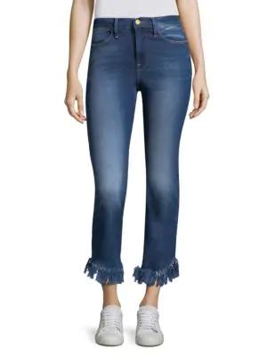 Peserico Le High Straight Shredded-hem Jeans In Blue