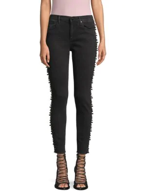 Driftwood Jackie Faux Pearl-embellished Ankle Skinny Jeans In Black