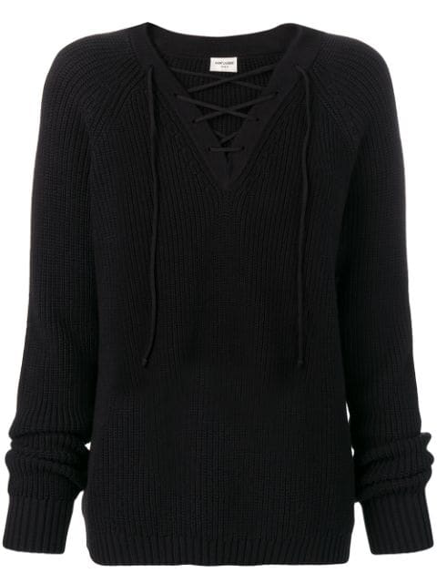 Saint Laurent Knitted Jumper In Black