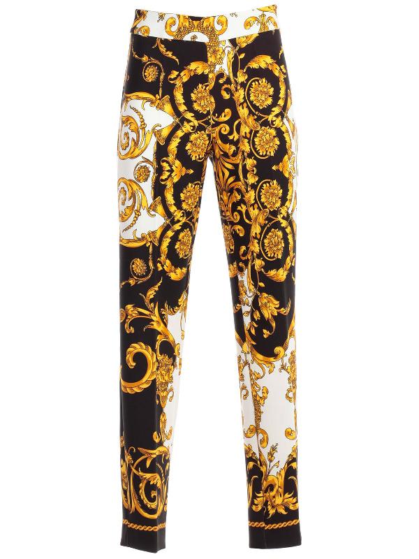 72dee323 Parosh P.A.R.O.S.H. Baroque Print Trousers In Fant Blk   ModeSens