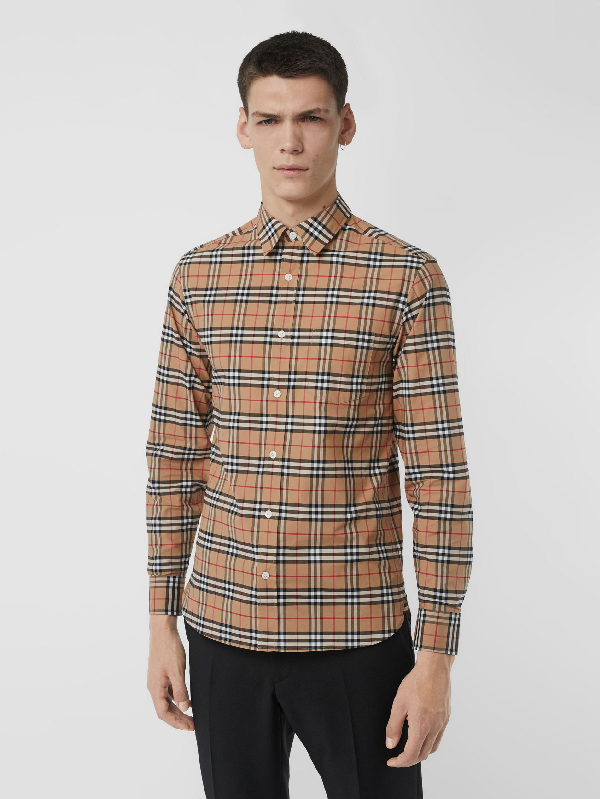 1828ebfba Burberry George Check Stretch Cotton Poplin Shirt In Camel | ModeSens