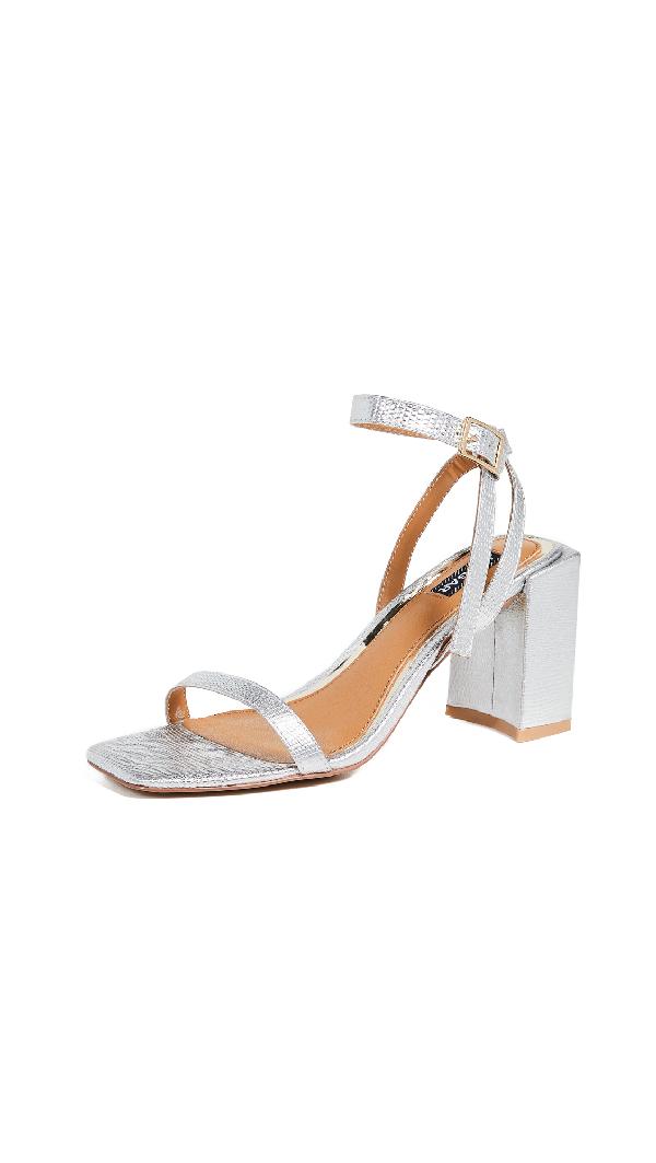 ff77d5f2e9ce Jaggar Essential Lizard Heel Sandals In Silver | ModeSens