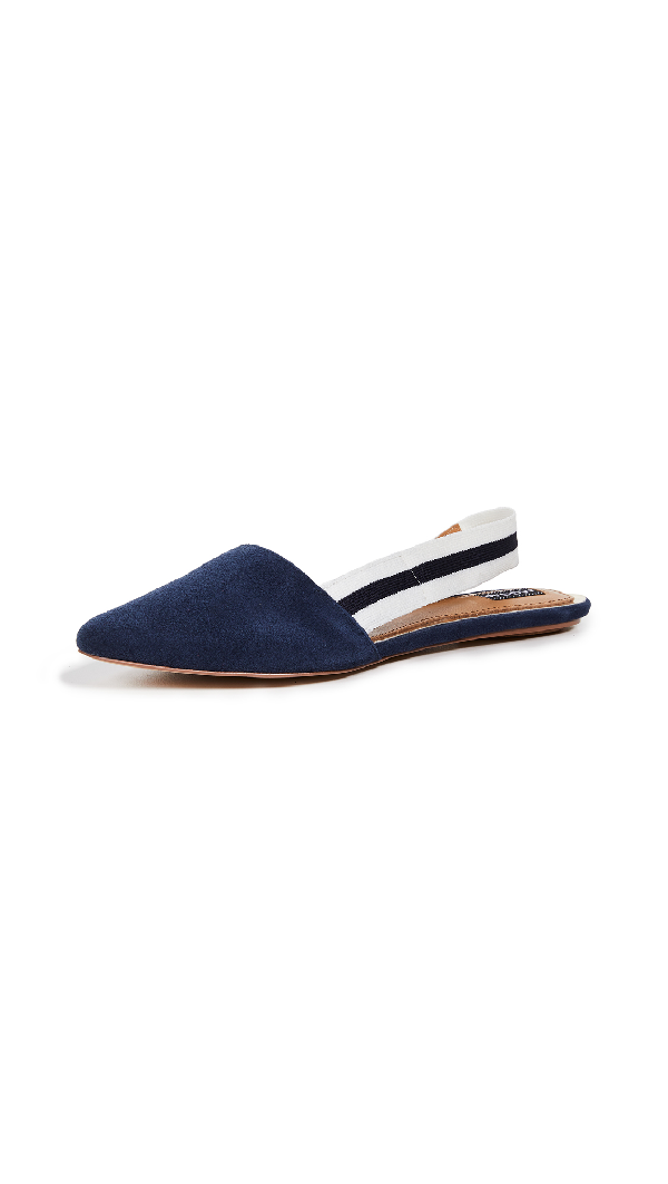 742cc9c832 Jaggar Action Suede Slingback Flats In Navy   ModeSens
