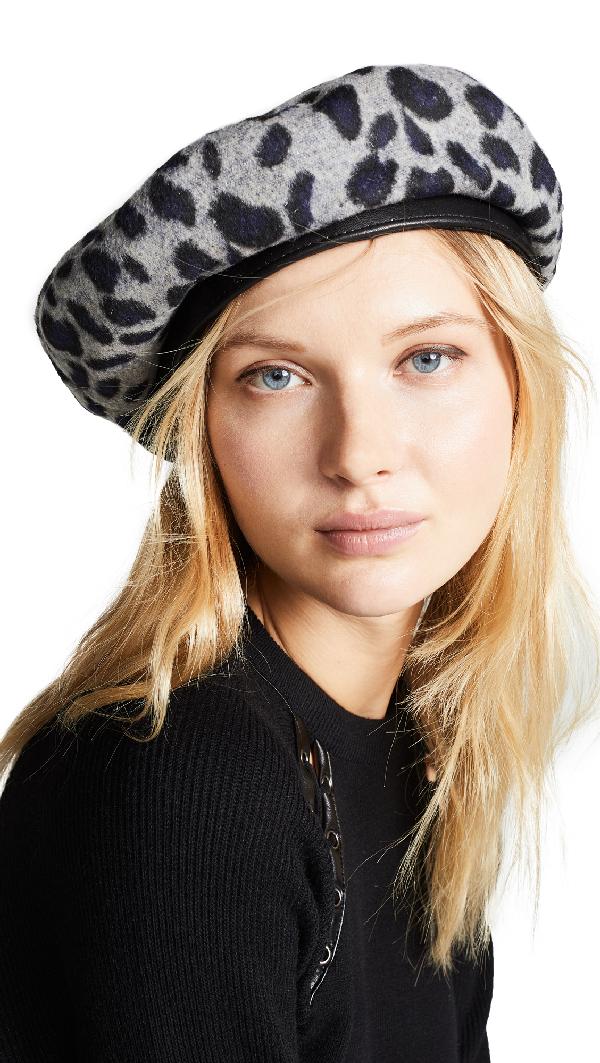 0a38e815f4dcb Brixton Audrey Beret Hat In Grey Leopard