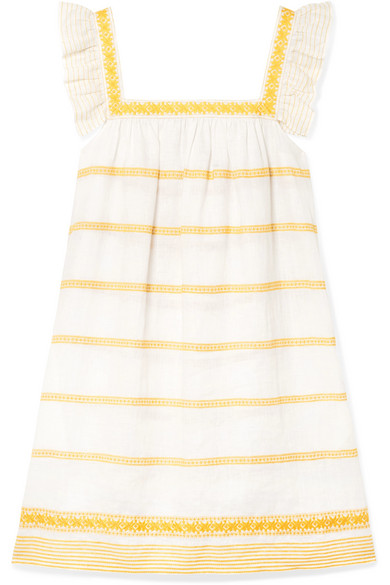 Tory Burch Sleeveless Striped Embroidered Sun Dress W/ Ruffle Detail In Yellow