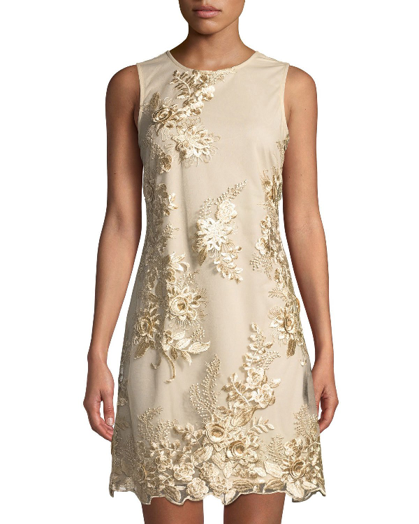 ff43ba7b Donna Ricco Embroidered Mesh-Overlay Sheath Cocktail Dress In Gold ...