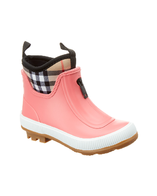 aa90332b886 BURBERRY. Flinton Short Rubber Rain Boots W  Check Detail