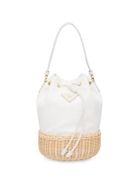 9e610f72c9497c Prada Canvas And Wicker Bucket Bag In White | ModeSens