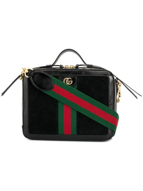 Gucci Ophidia Suede And Leather Shoulder Bag In 1060  Black