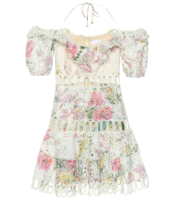 b84492e299f6a Zimmermann Pink And White Garden Floral Heather Off-The-Shoulder Cotton  Dress In Multicoloured