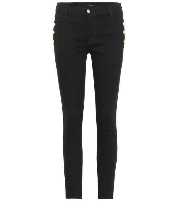 J Brand Zion Cropped Mid-rise Skinny Jeans In Black