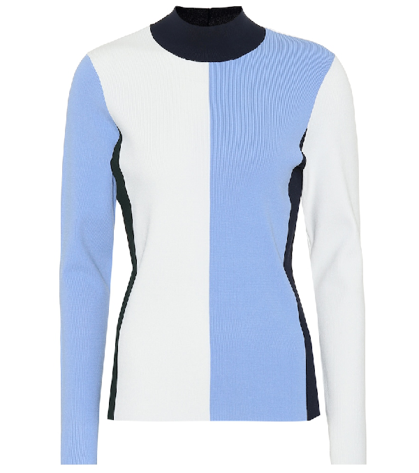 6aed4a2bc Tory Sport Block Tech Knit Mock Neck Sweater In Blue | ModeSens