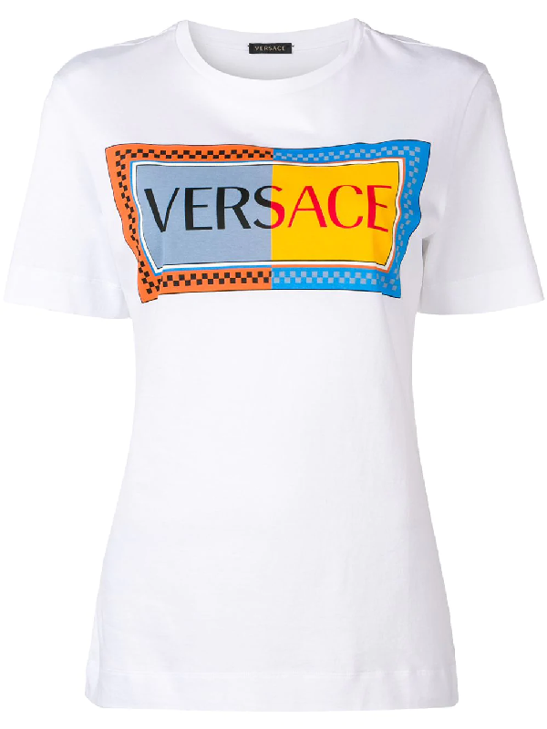 36f3ce24 Versace Sustainable Two-Tone 90S Logo T-Shirt In White | ModeSens