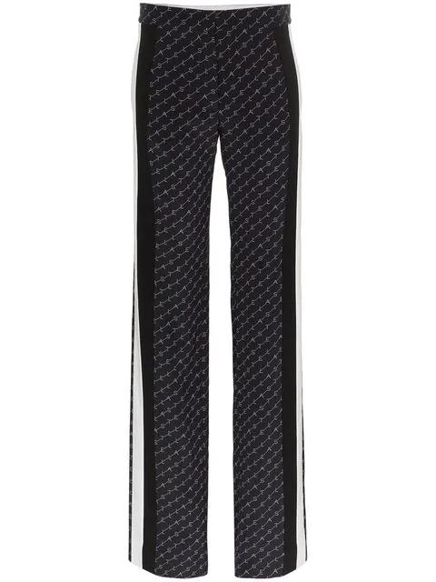 Stella Mccartney High-Rise Wide-Leg Silk Pants In Blue
