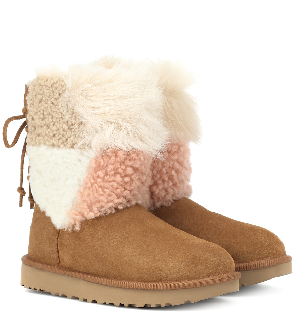 e7d17a64015 Classic Short Patchwork Fluff Shearling Boots in Brown