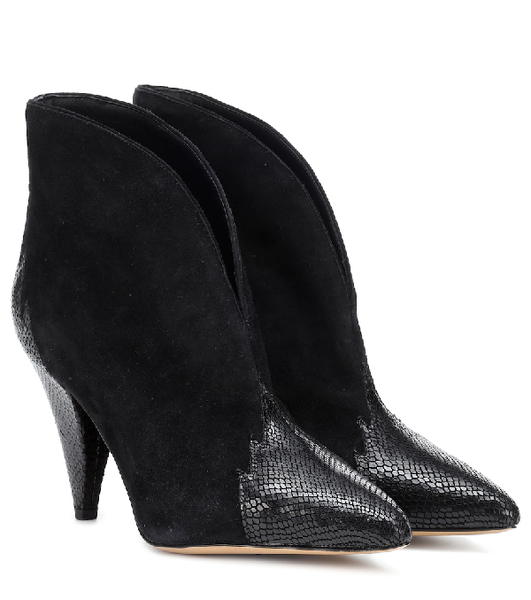 Isabel Marant Archee Black Suede And Leather Ankle Boots