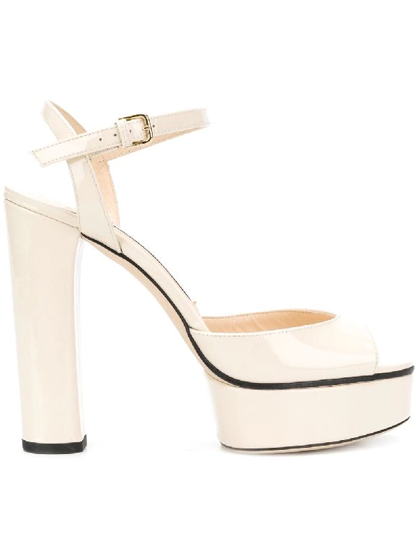 Jimmy Choo Peachy 125 Linen Patent Leather Platform Sandals In Neutrals