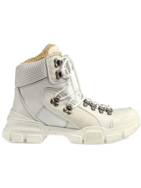Gucci Flashtrek Faux Shearling-Trimmed Leather, Canvas And Suede Boots In White