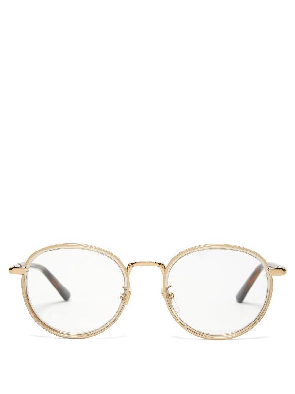 Gucci Web-striped Round-frame Glasses In Gold