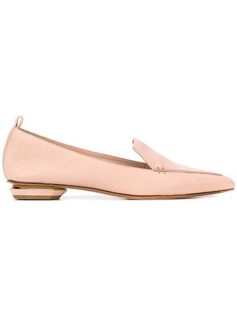 Nicholas Kirkwood 'Beya Bottalato' Metal Heel Leather Skimmer Loafers In Pink