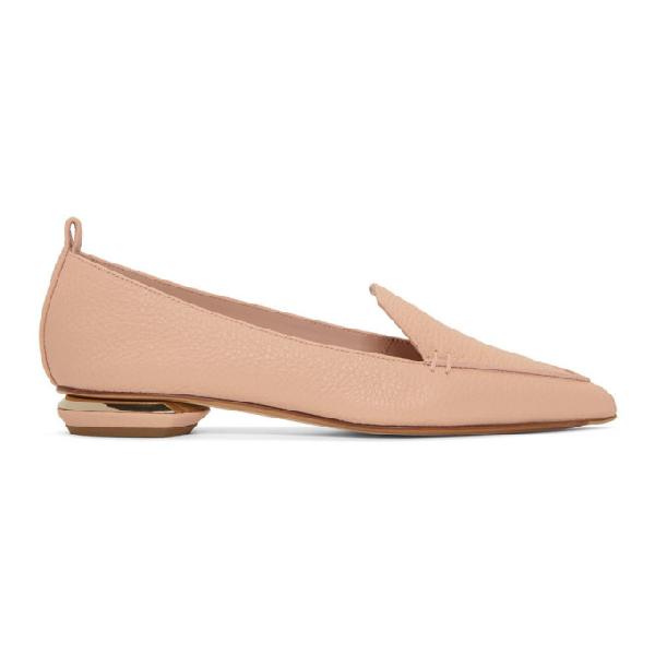 Nicholas Kirkwood 'Beya Bottalato' Metal Heel Leather Skimmer Loafers In Pink