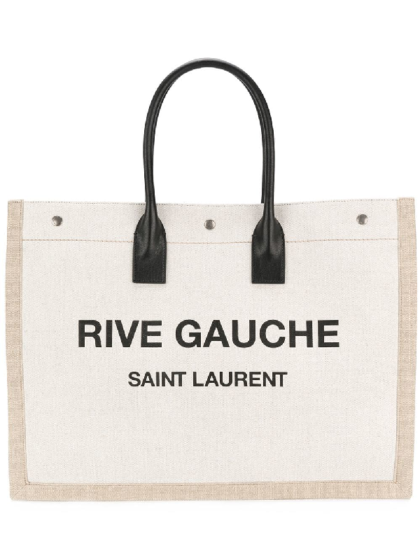 9705654399ed Saint Laurent Shopper Leather-Trimmed Printed Canvas Tote In 9280 Natural