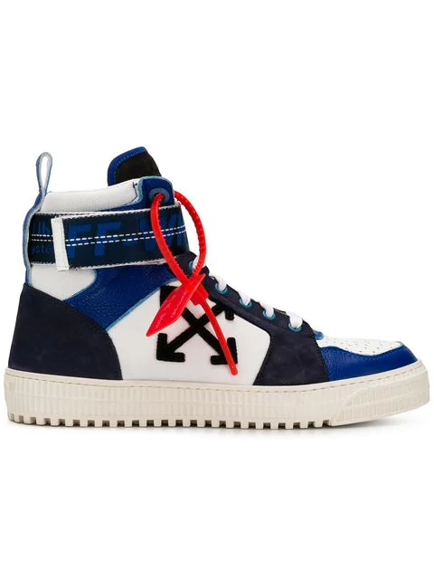 Off-White Industrial Panelled Ripstop, Suede And Leather High-Top Sneakers In Blue